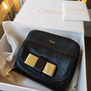 Chloe Black Leather Wallet Authentic